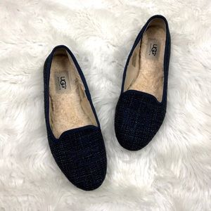 ⛱Ugg Navy Plaid Tweed Sheer-lined Flats